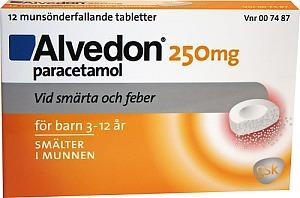 Alvedon 250 mg munsönderfallande tablett, 12 st