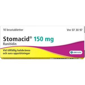 Orifarm Stomacid Brustablett 150 mg 10 st