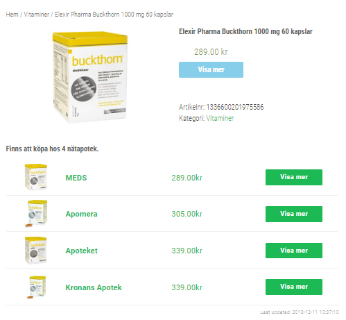 Elexir Pharma Buckthorn 1000 mg 60 kapslar - 50kr billigare