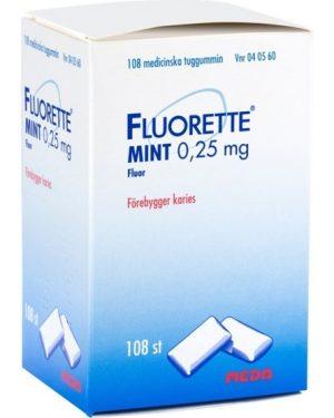 Fluorette Mint, medicinskt tuggummi 0,25 mg 108 st